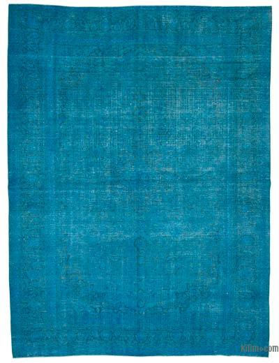 """Aqua Over-dyed Vintage Hand-knotted Oriental Rug - 10'  x 13' 3"""" (120 in. x 159 in.)"""