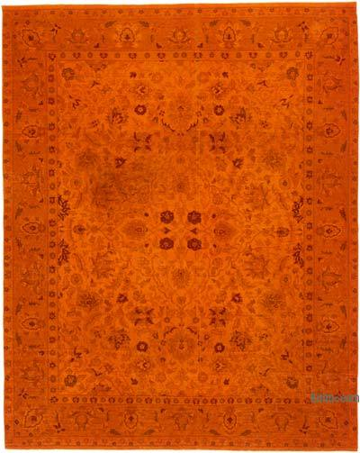 Orange Overdyed Vintage Hand-knotted Oriental Rug - 8'  x 10'  (96 in. x 120 in.)