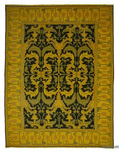 "Yellow Over-dyed Vintage Hand-knotted Oriental Rug - 10' 2"" x 13' 6"" (122 in. x 162 in.)"