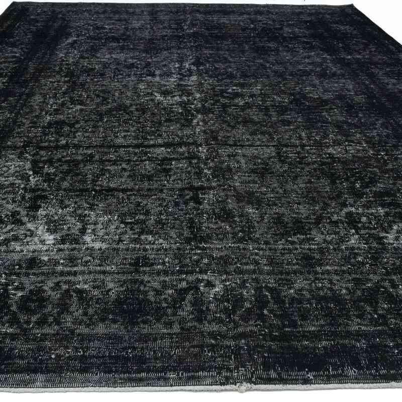 Siyah Boyalı El Dokuma Vintage Halı - 300 cm x 377 cm - K0041314