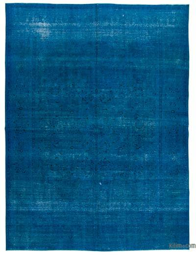 "Blue Over-dyed Vintage Hand-knotted Oriental Rug - 9' 5"" x 12' 10"" (113 in. x 154 in.)"