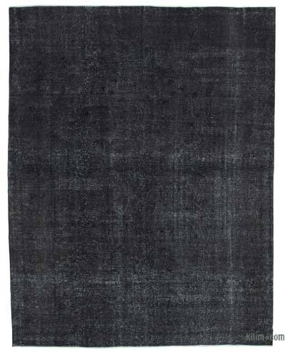 "Black Over-dyed Vintage Hand-knotted Oriental Rug - 9' 7"" x 12' 4"" (115 in. x 148 in.)"