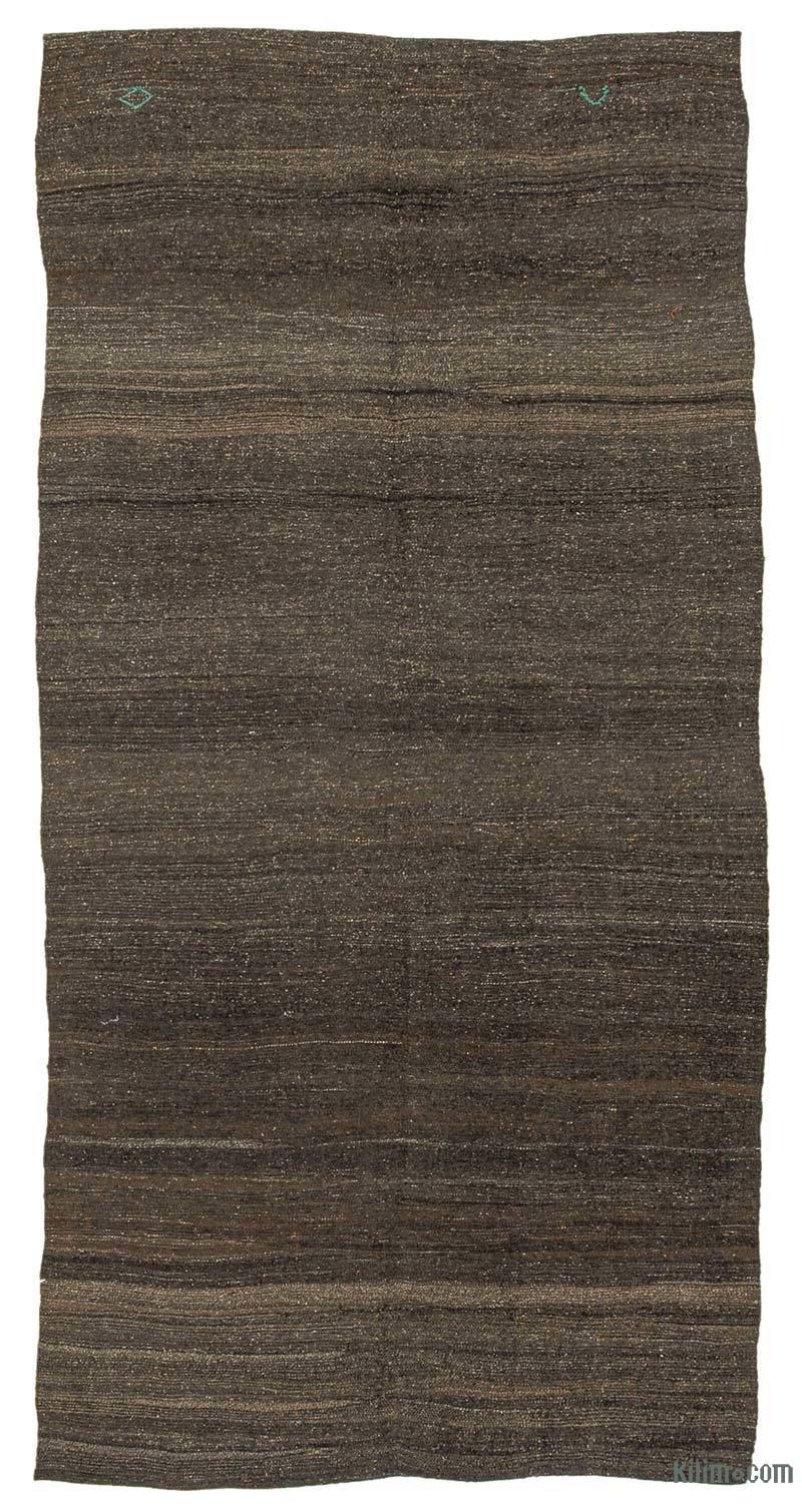 """Brown Vintage Anatolian Kilim Rug - 5' 3"""" x 10' 8"""" (63 in. x 128 in.) - K0042546"""