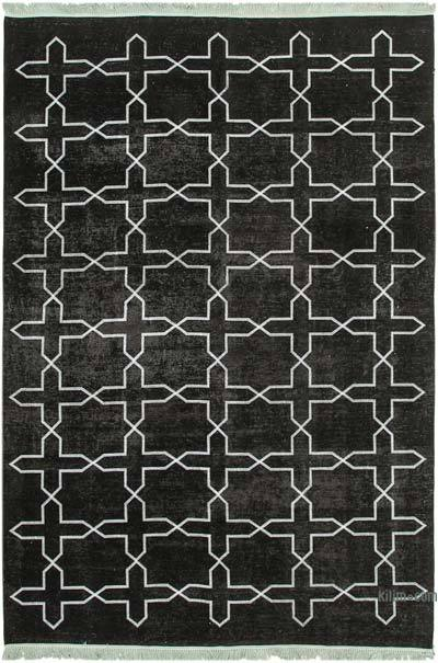 """Black Embroidered Over-dyed Turkish Vintage Rug - 8' 9"""" x 12' 8"""" (105 in. x 152 in.)"""
