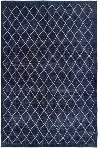 "Embroidered Over-dyed Turkish Vintage Rug - 9'7"" x 14'7"" (115 in. x 175 in.)"