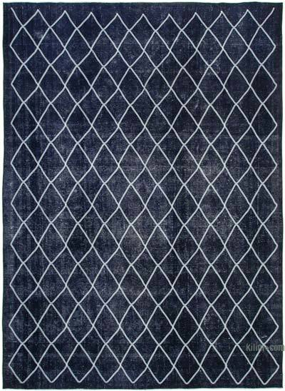 """Embroidered Over-dyed Turkish Vintage Rug - 9'6"""" x 13' (114 in. x 156 in.)"""