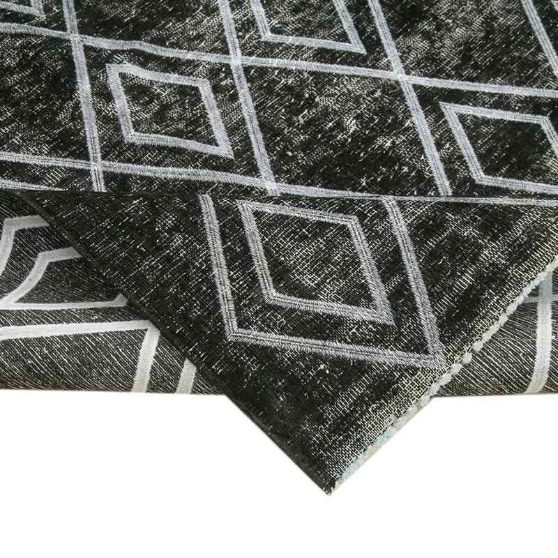 Siyah İşlemeli ve Boyalı El Dokuma Vintage Halı - 290 cm x 369 cm - K0042730