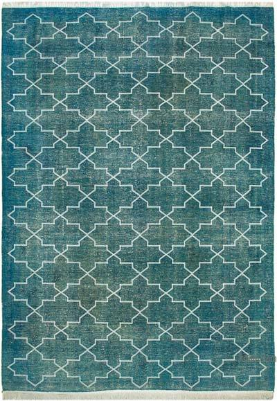 "Embroidered Over-dyed Turkish Vintage Rug - 9' 11"" x 13' 5"" (119 in. x 161 in.)"