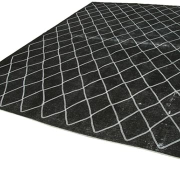"""Black Embroidered Over-dyed Turkish Vintage Rug - 9' 7"""" x 12' 10"""" (115 in. x 154 in.) - K0042739"""