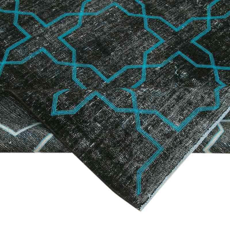 Siyah İşlemeli ve Boyalı El Dokuma Vintage Halı - 297 cm x 395 cm - K0042743
