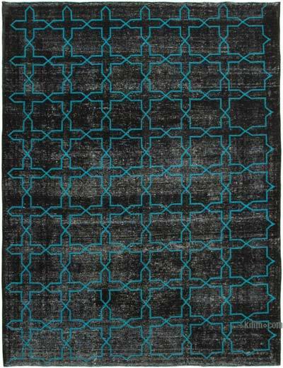 İşlemeli ve Boyalı El Dokuma Vintage Halı - 297 cm x 395 cm