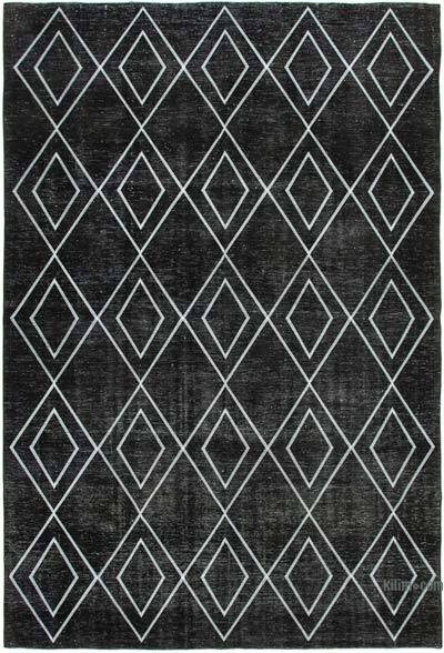 "Black Embroidered Over-dyed Turkish Vintage Rug - 9' 4"" x 13' 5"" (112 in. x 161 in.)"