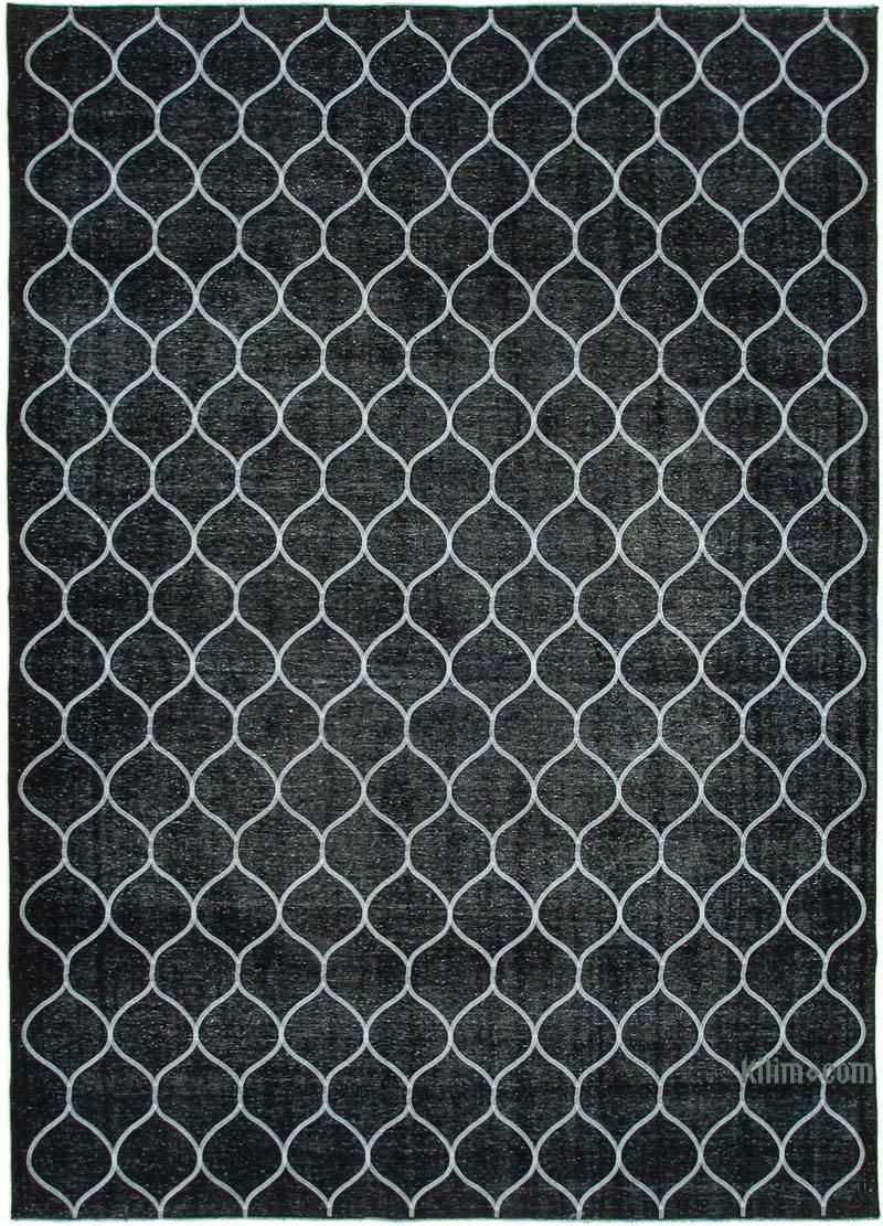 Black Embroidered Over-dyed Turkish Vintage Rug - 9' 6# x 13' 2# (114 in. x 158 in.) - K0042749