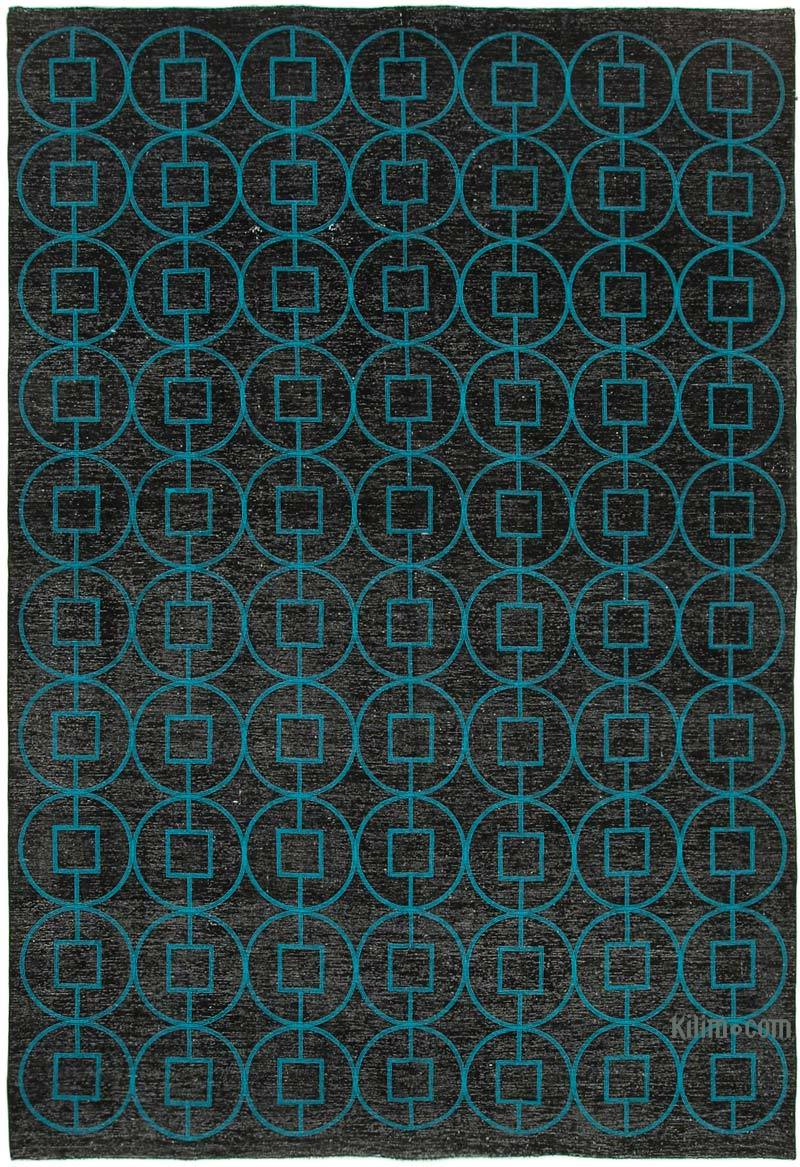 Siyah İşlemeli ve Boyalı El Dokuma Vintage Halı - 289 cm x 417 cm - K0042750