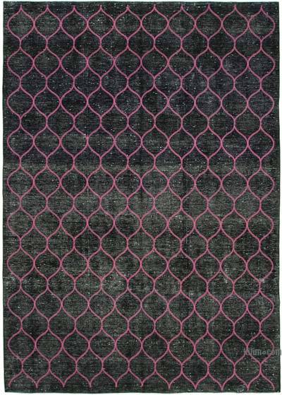 "Embroidered Over-dyed Turkish Vintage Rug - 9' 2"" x 12' 8"" (110 in. x 152 in.)"