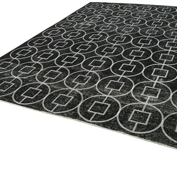 """Black Embroidered Over-dyed Turkish Vintage Rug - 9' 5"""" x 12' 3"""" (113 in. x 147 in.) - K0042752"""