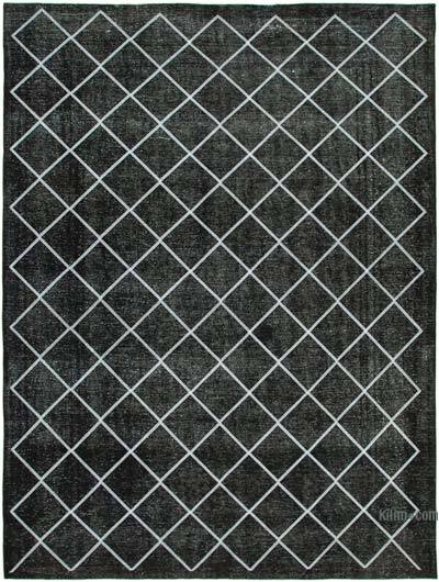 "Black Embroidered Over-dyed Turkish Vintage Rug - 9' 11"" x 12' 10"" (119 in. x 154 in.)"