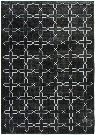 "Black Embroidered Over-dyed Turkish Vintage Rug - 8' 11"" x 12' 11"" (107 in. x 155 in.)"