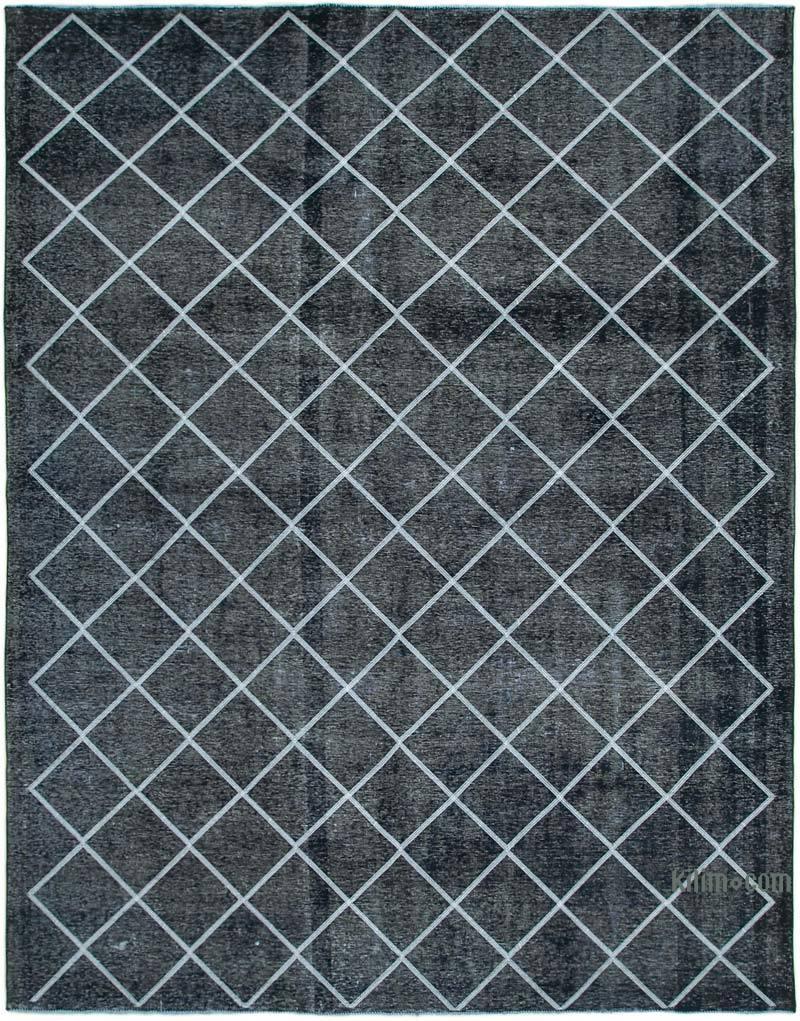 Negro Alfombra Turca bordada sobre teñida vintage - 307 cm x 382 cm - K0042759