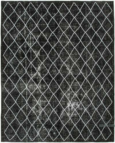 """Black Embroidered Over-dyed Turkish Vintage Rug - 9' 11"""" x 12' 1"""" (119 in. x 145 in.)"""