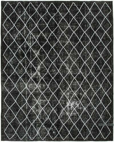 Siyah İşlemeli ve Boyalı El Dokuma Vintage Halı - 302 cm x 369 cm