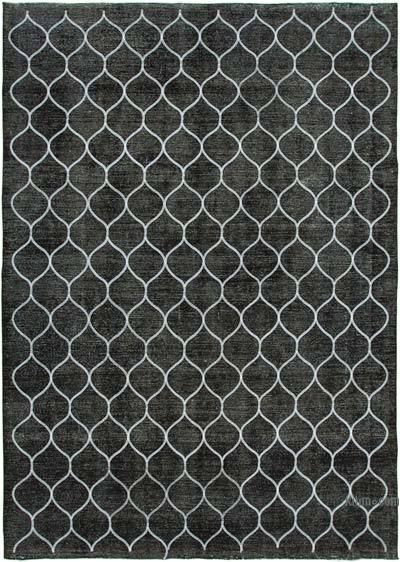 """Black Embroidered Over-dyed Turkish Vintage Rug - 9' 6"""" x 12' 11"""" (114 in. x 155 in.)"""