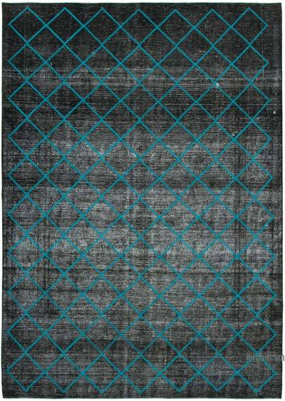 "Embroidered Over-dyed Turkish Vintage Rug - 9'9"" x 13'7"" (117 in. x 163 in.)"
