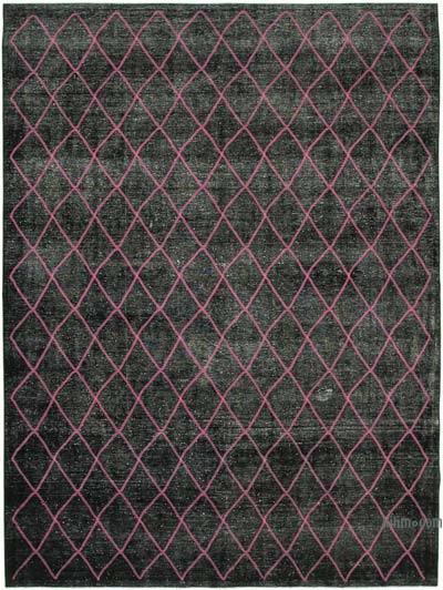 İşlemeli ve Boyalı El Dokuma Vintage Halı - 293 cm x 390 cm