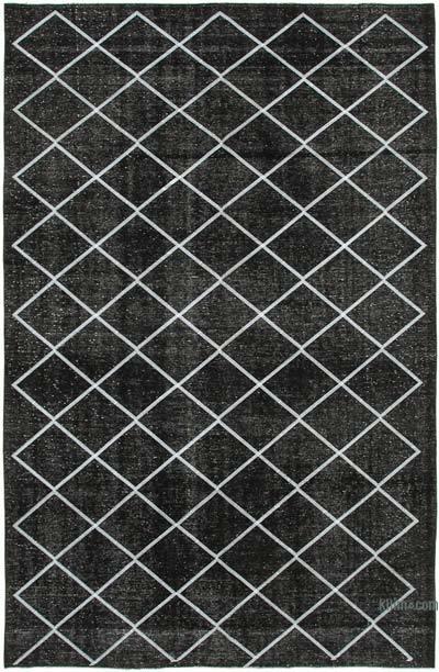 İşlemeli ve Boyalı El Dokuma Vintage Halı - 256 cm x 387 cm