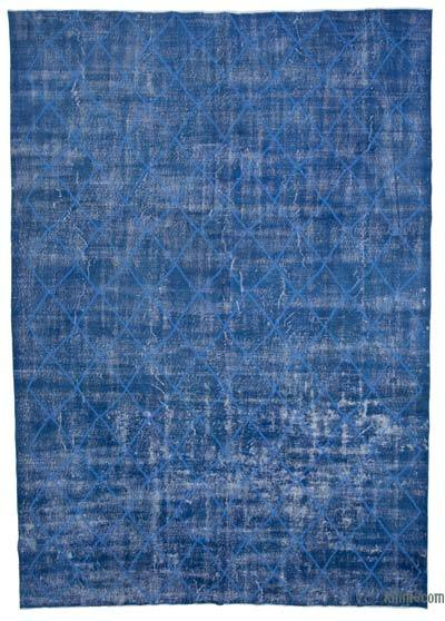 "Embroidered Over-dyed Turkish Vintage Rug - 8' 9"" x 12' 6"" (105 in. x 150 in.)"