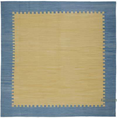 "Yellow, Blue New Handwoven Turkish Kilim Rug - 10' 1"" x 10' 1"" (121 in. x 121 in.)"