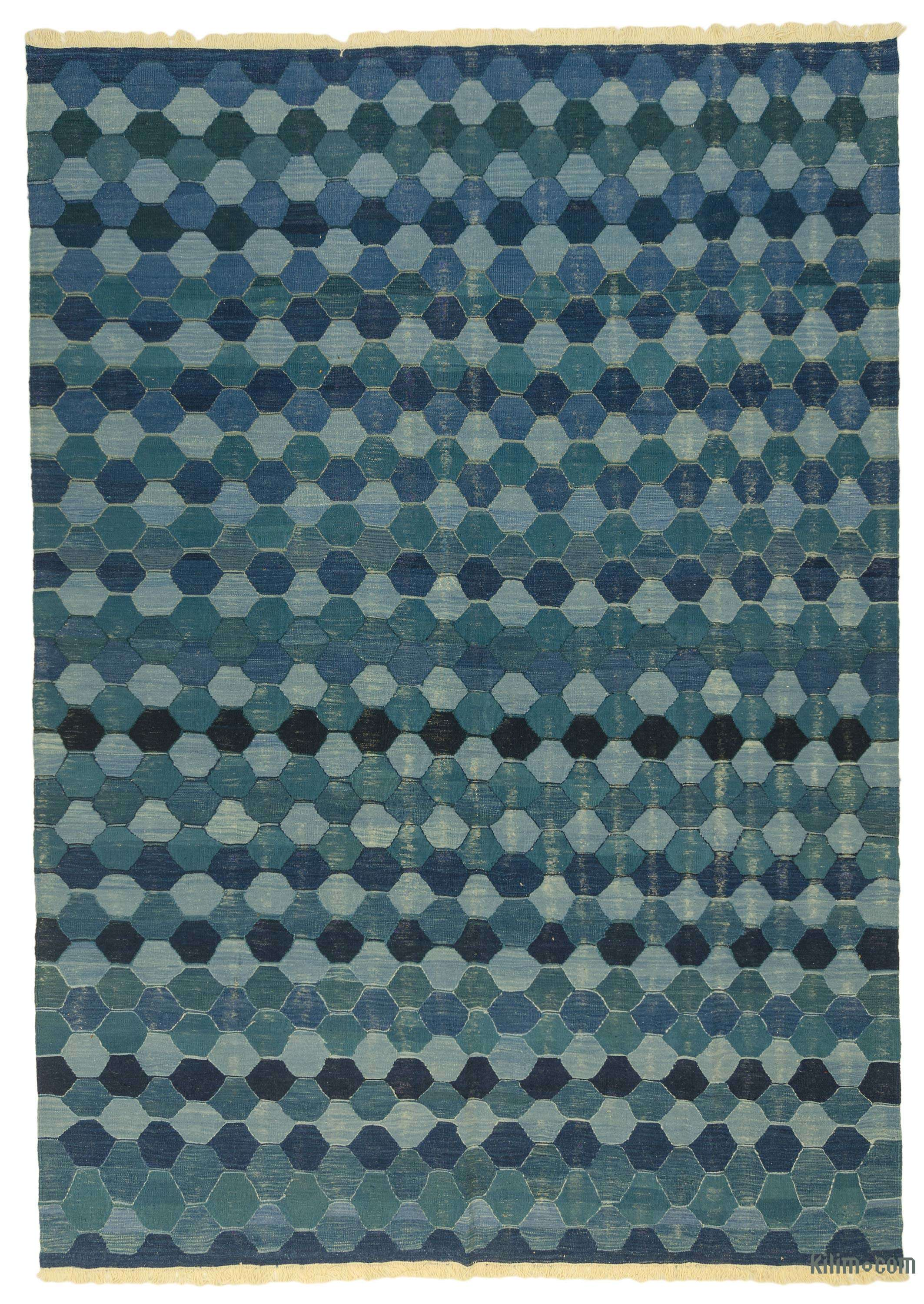 K0043332 Blue New Handwoven Turkish Kilim Rug 8 10 X 12 8 106 In X 152 In The Source For Hand Knotted Vintage Rugs Hand Woven Kilim Rugs Wool Turkish Rugs Overdyed Persian Rugs