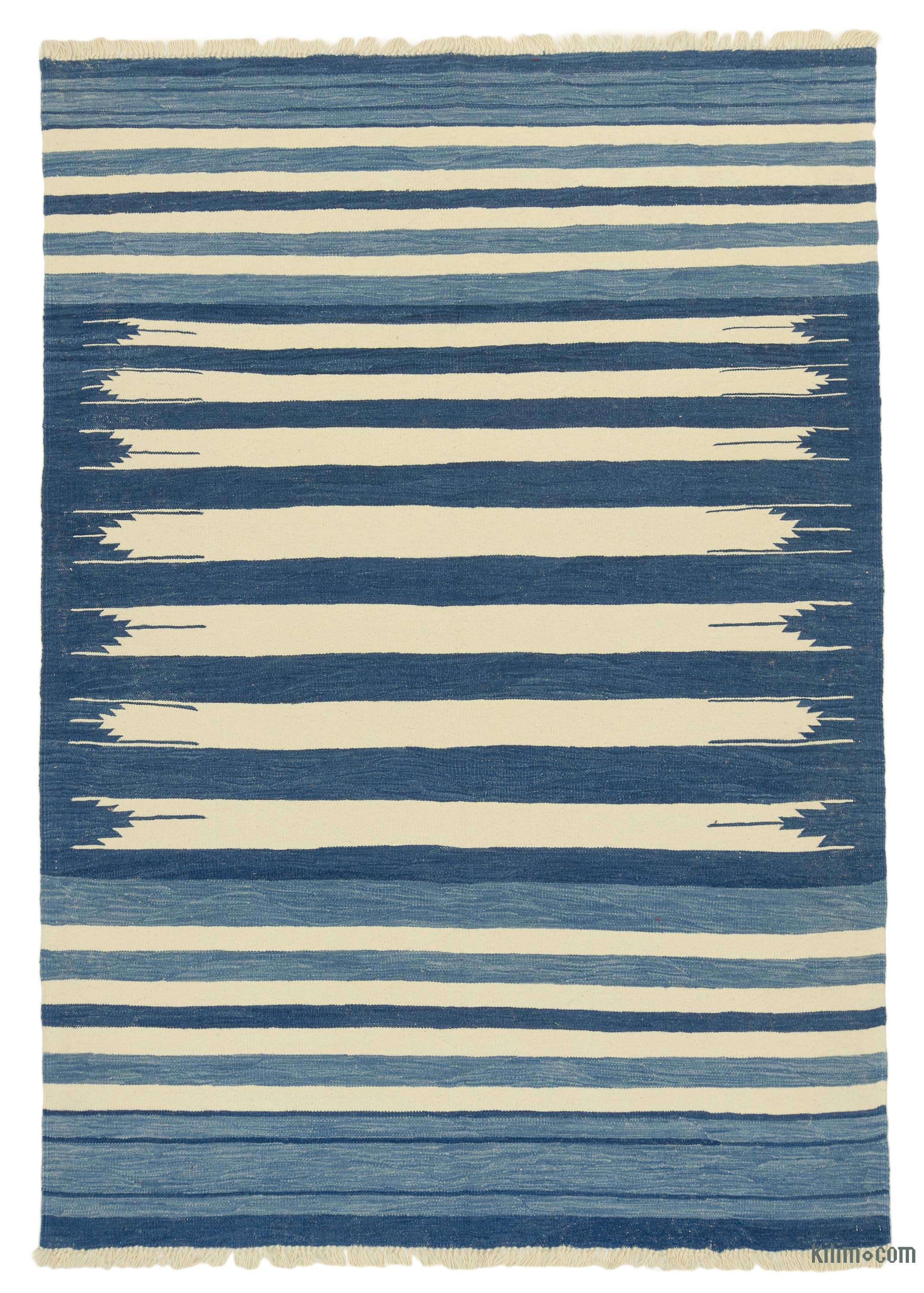 K0043334 Blue Beige New Handwoven Turkish Kilim Rug 6 X 8 6 72 In X 102 In The Source For Hand Knotted Vintage Rugs Hand Woven Kilim Rugs Wool Turkish Rugs Overdyed Persian Rugs