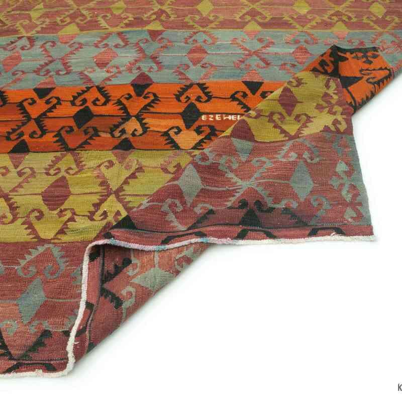 """Multicolor Vintage Konya Kilim Rug - 6' 10"""" x 11' 10"""" (82 in. x 142 in.) - K0043390"""