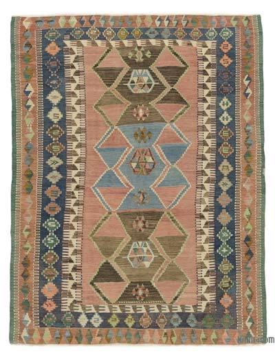 Çok Renkli Vintage Konya Obruk Kilimi - 140 cm x 184 cm
