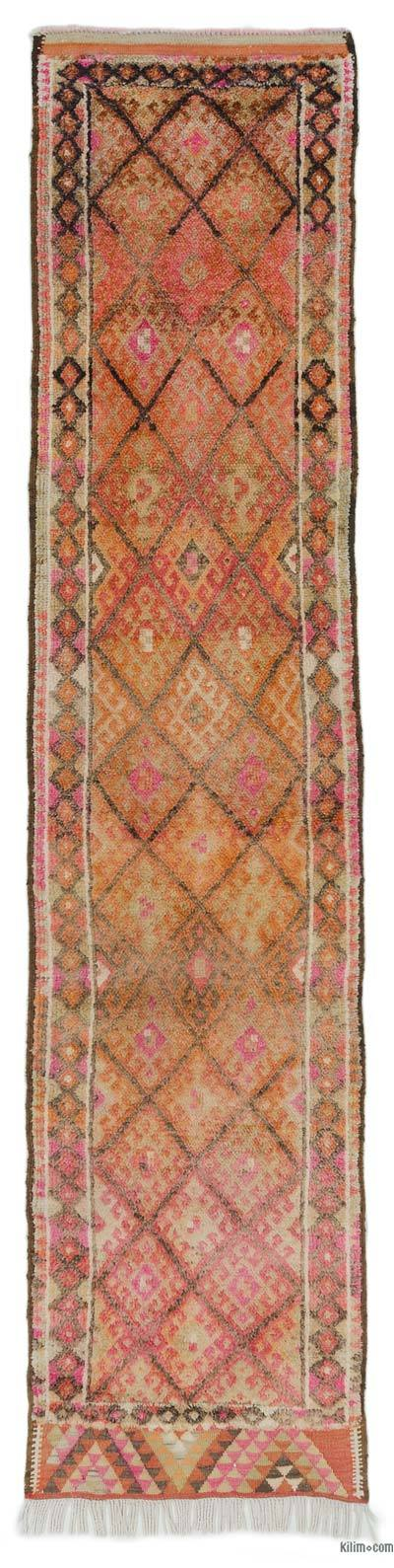 "Multicolor Vintage Turkish Runner Rug - 2' 8"" x 11' 5"" (32 in. x 137 in.)"