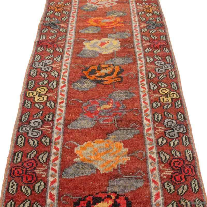 "Multicolor Vintage Turkish Runner Rug - 2' 11"" x 13' 1"" (35 in. x 157 in.) - K0043443"