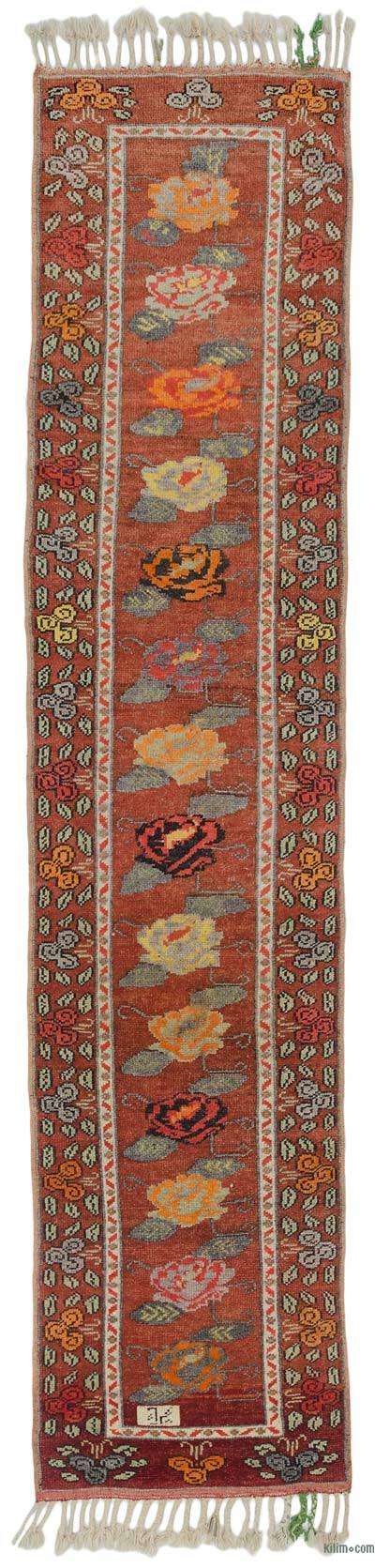 "Multicolor Vintage Turkish Runner Rug - 2' 11"" x 13' 1"" (35 in. x 157 in.)"