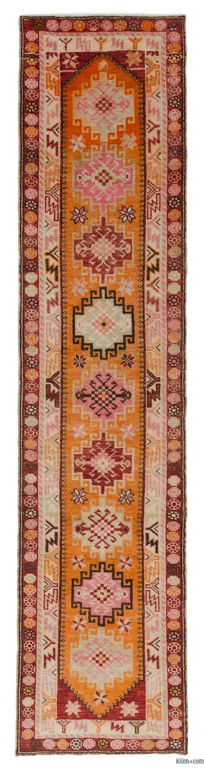 "Multicolor Vintage Turkish Runner Rug - 2' 11"" x 12' 6"" (35 in. x 150 in.)"