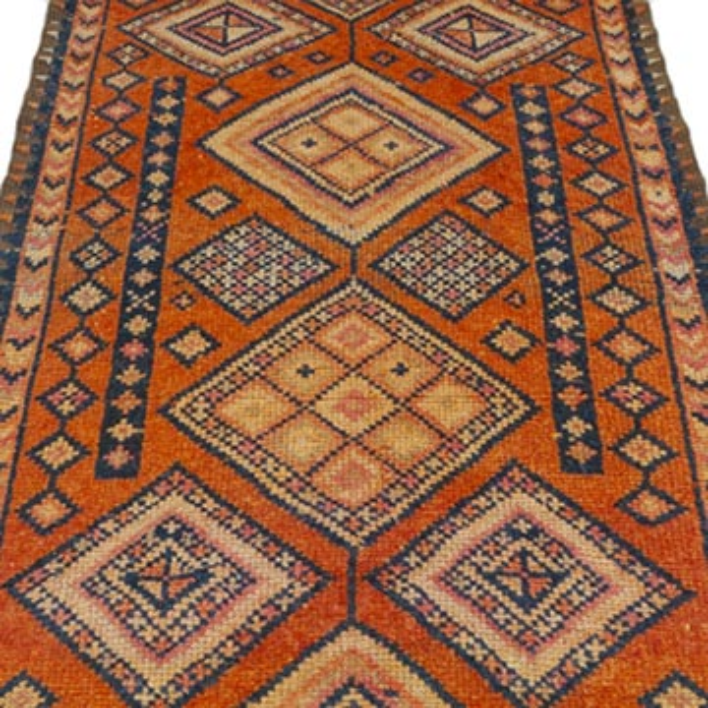 "Multicolor Vintage Turkish Runner Rug - 2' 9"" x 11' 9"" (33 in. x 141 in.) - K0043460"