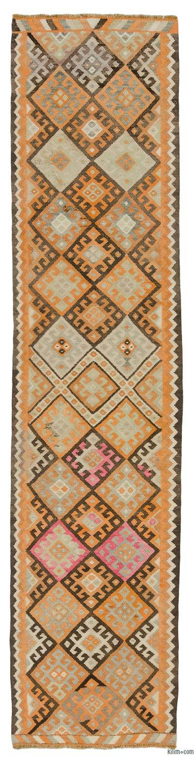 "Vintage Turkish Kilim Runner - 3'  x 12' 10"" (36 in. x 154 in.)"