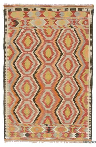 """Multicolor Vintage Antalya Kilim Rug - 5' 1"""" x 7' 7"""" (61 in. x 91 in.)"""