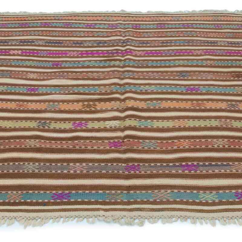 """Multicolor Vintage Fethiye Kilim Rug - 6'  x 6' 9"""" (72 in. x 81 in.) - K0043689"""