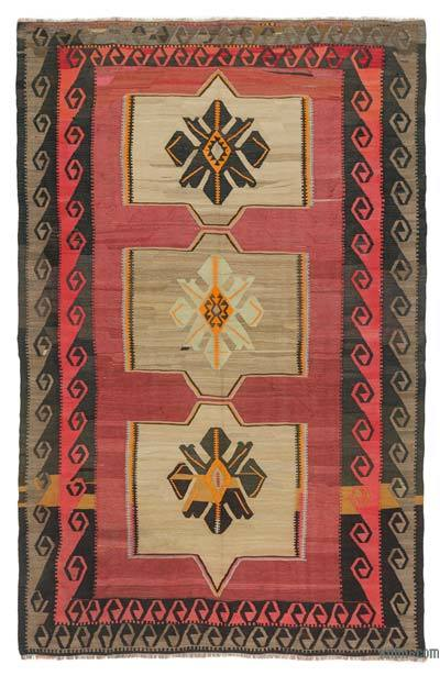 "Vintage Turkish Kilim Rug - 7'  x 10' 10"" (84 in. x 130 in.)"