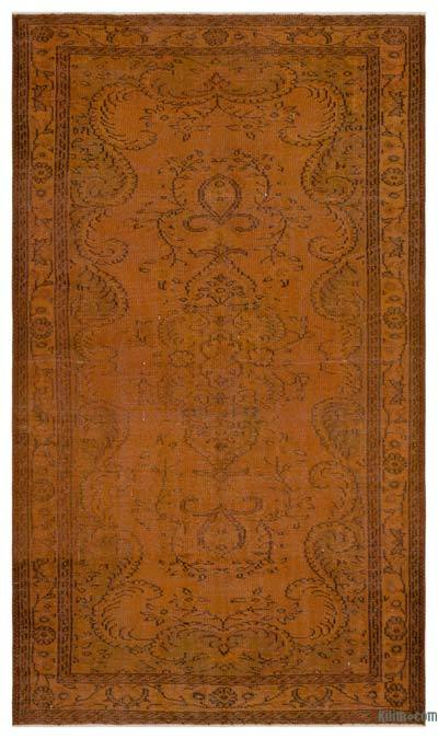 """Brown Over-dyed Turkish Vintage Rug - 5'  x 8' 10"""" (60 in. x 106 in.)"""
