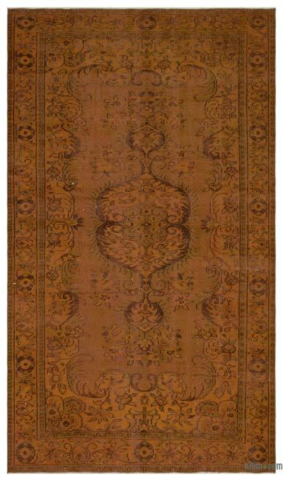 Kahverengi Boyalı El Dokuma Vintage Halı - 172 cm x 296 cm