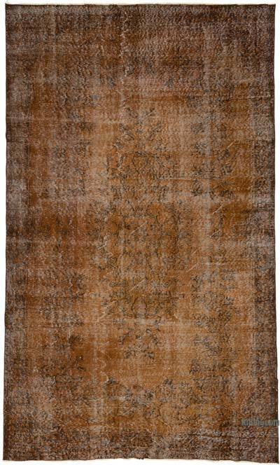 """Brown Over-dyed Turkish Vintage Rug - 5' 7"""" x 9' 3"""" (67 in. x 111 in.)"""