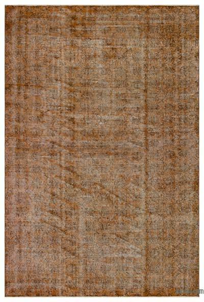Kahverengi Boyalı El Dokuma Vintage Halı - 189 cm x 280 cm