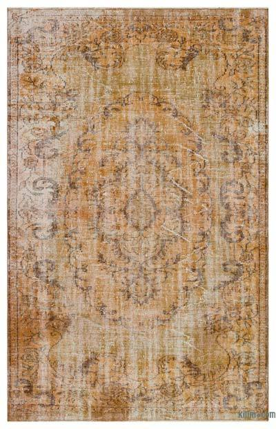 """Brown Over-dyed Turkish Vintage Rug - 5' 6"""" x 8' 9"""" (66 in. x 105 in.)"""