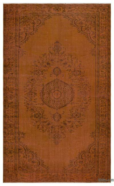 """Brown Over-dyed Turkish Vintage Rug - 5' 5"""" x 9' 1"""" (65 in. x 109 in.)"""
